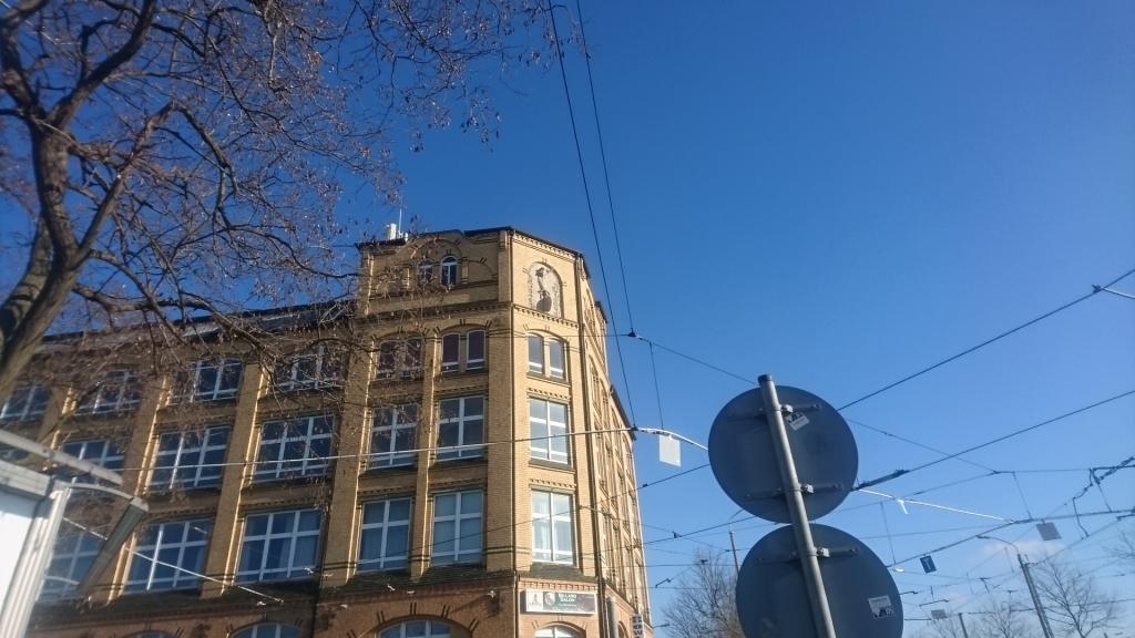 Gebäude der Carl Kästner Act.-Ges. mit dem stilisierten Fahrrad.