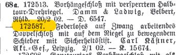 Reichsanzeiger Carl Kästner Mietfachschloss