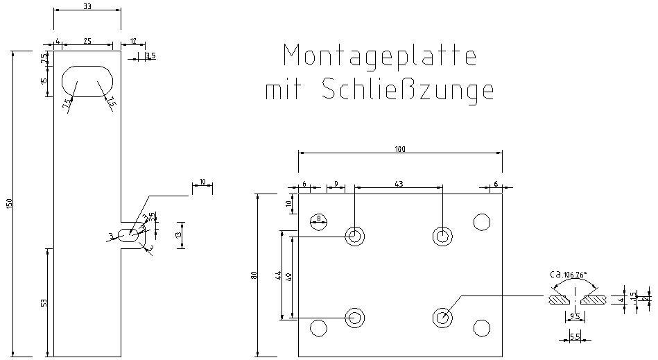 Montageplatte für KROMER Protector mit Schließzunge für LEICHER