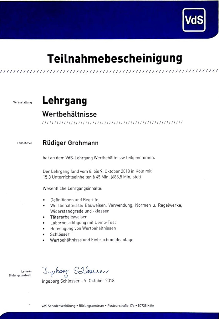 Zertifikat VdS